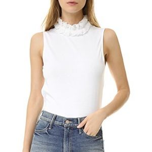 See by Chloe White Ruffle Neck T-shirt Small